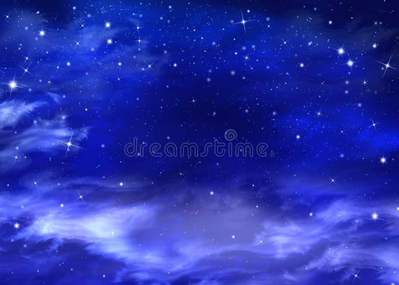 Härlig bakgrund, nightly himmel royaltyfri illustrationer