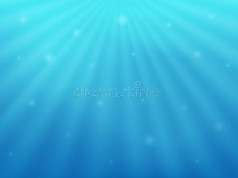 Härlig bakgrund under vatten Det blåa havet och strålarna av solen stock illustrationer