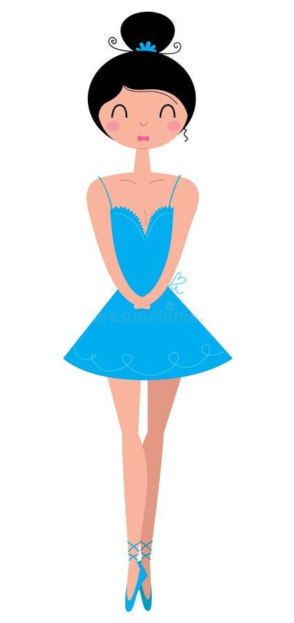Härlig ballerina i ballerinakjolkjolen (Clipart) vektor illustrationer