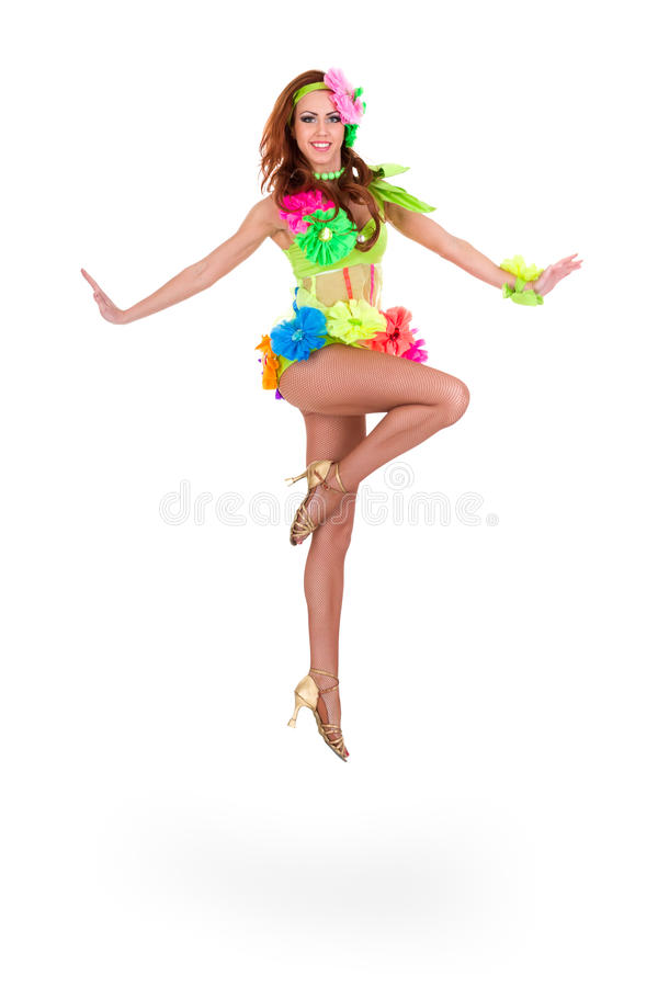 Härlig banhoppning för karnevaldansarekvinna royaltyfri foto