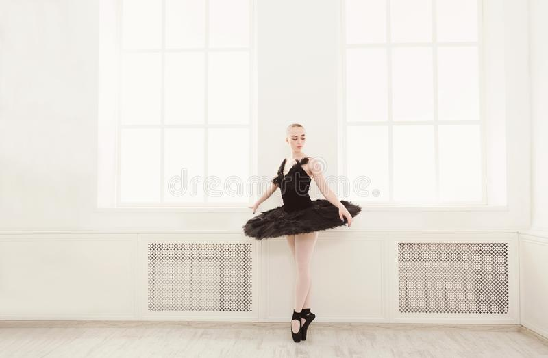 Härlig Behagfull Ballerina I Klänning För Svart Svan