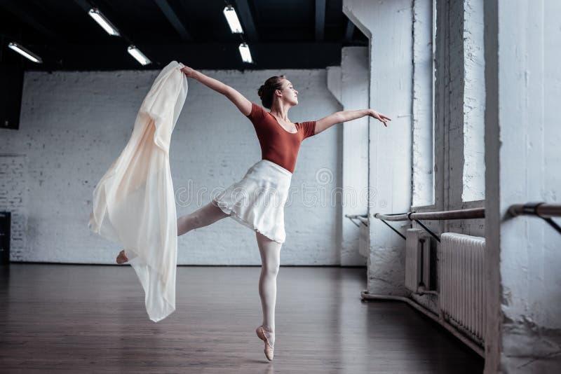 Härlig behagfull ung ballerina som visar hennes dans arkivbild