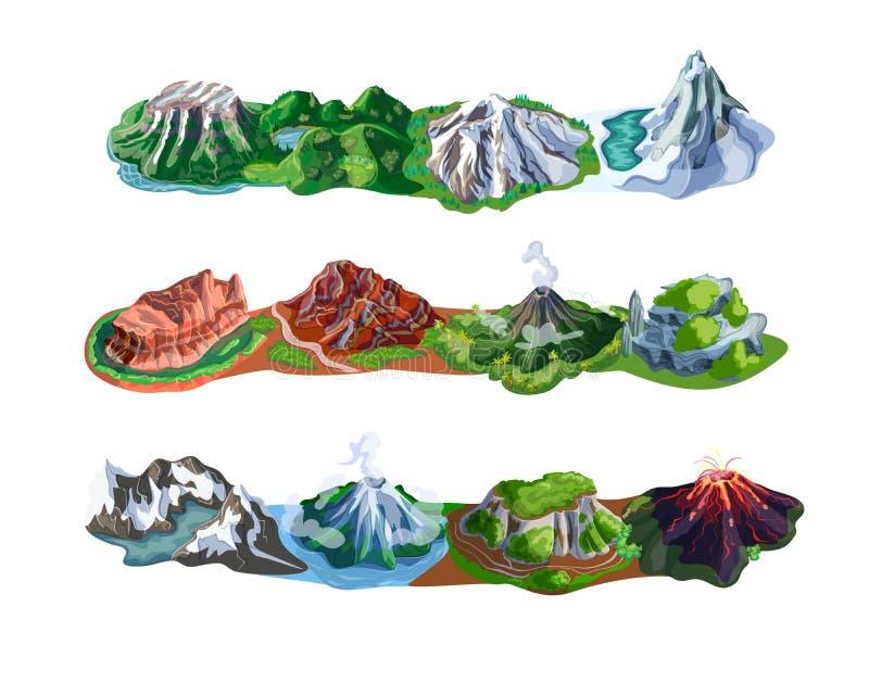 Härlig berglandskapuppsättning royaltyfri illustrationer