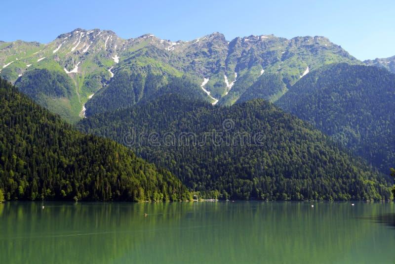 härlig bergsjö Ritsa i Abchazien arkivbild