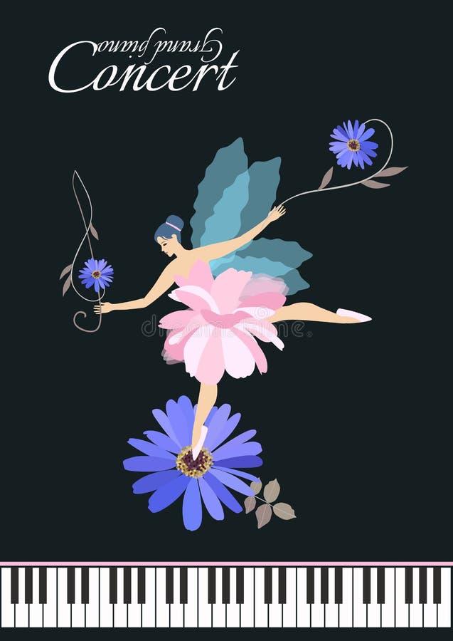 Härlig bevingad fe med G-klav - blommadans på den blåa tusenskönan som isoleras på svart bakgrund Musikaliskt inbjudankort royaltyfri illustrationer