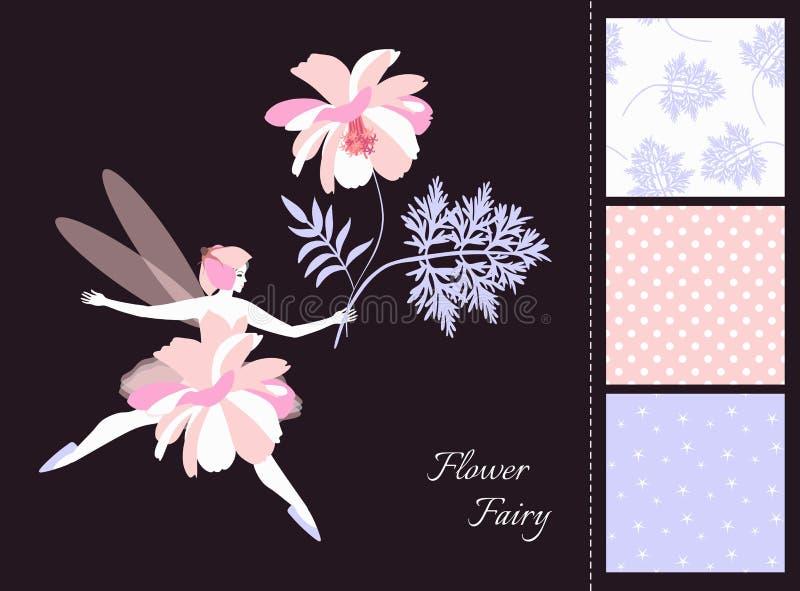 Härlig bevingad felik flicka med blomman Kort och uppsättning av sömlösa modeller i mjuka färger stock illustrationer