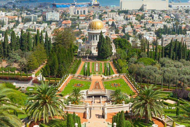 Härlig bild av de Bahai trädgårdarna i Haifa Israel royaltyfri fotografi
