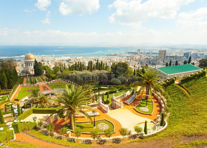 Härlig bild av de Bahai trädgårdarna i Haifa Israel arkivbild