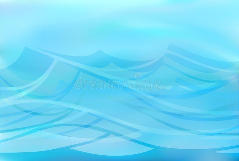 Härlig blå bakgrund av stiliserade vågor vektor illustrationer
