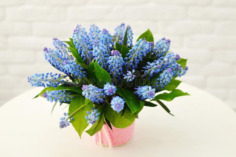 Härlig blå bukett av blommor i en rosa ask royaltyfri fotografi