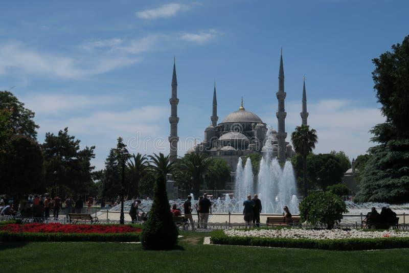 Härlig blå moské - sultan-Ahmet-Camii som sett från springbrunnen i parkera, i Istanbul, Turkiet royaltyfri fotografi