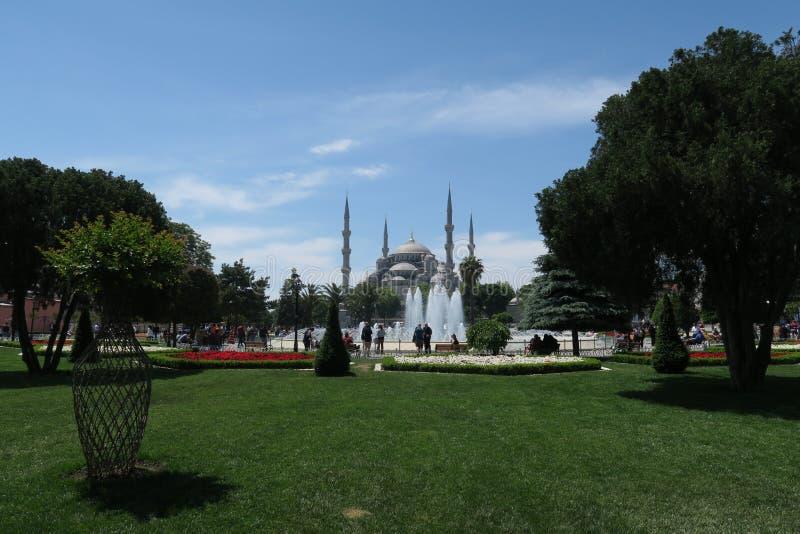 Härlig blå moské - sultan-Ahmet-Camii som sett från springbrunnen i parkera, i Istanbul, Turkiet arkivbilder