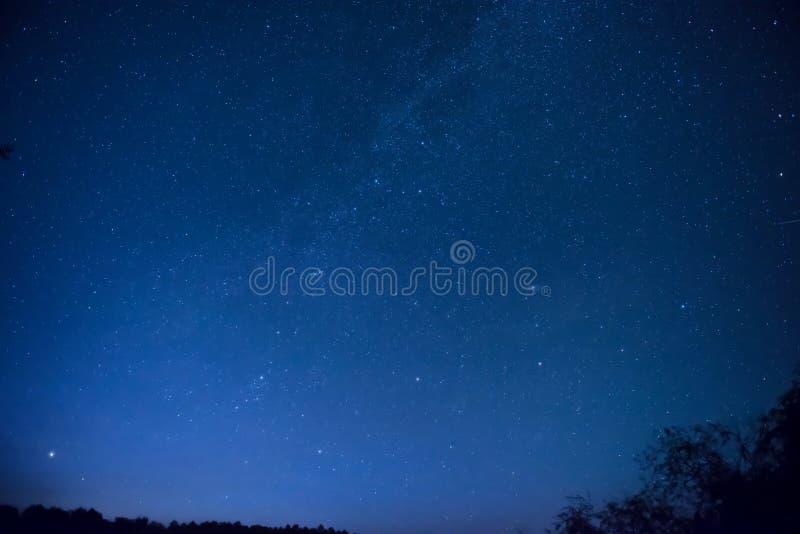 Härlig blå natthimmel med många stjärnor arkivfoto