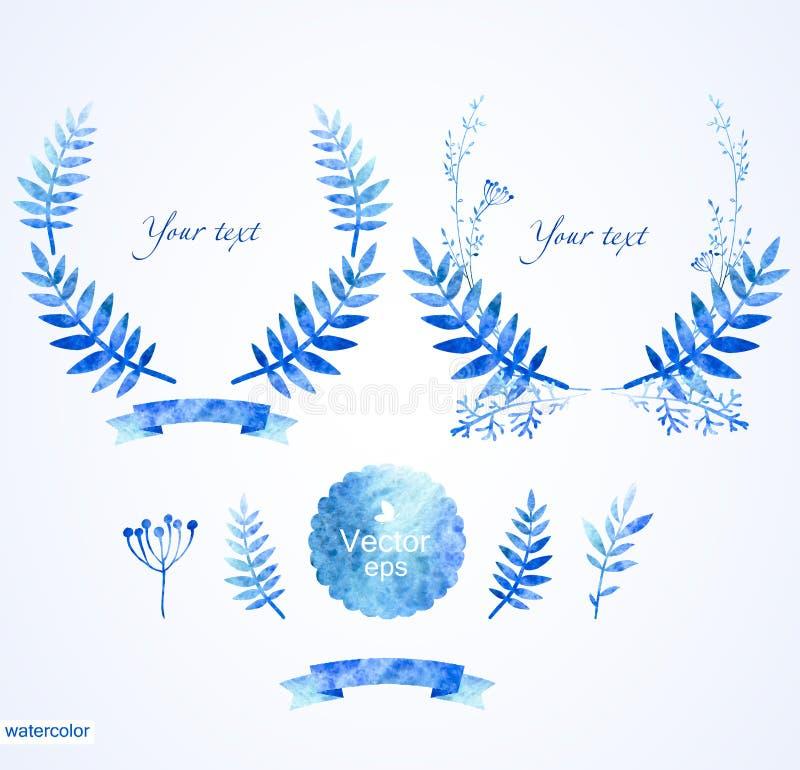 Härlig blåttrundaram av blom- beståndsdelar stock illustrationer