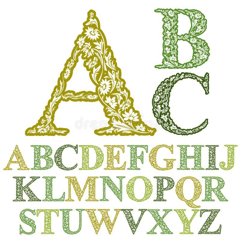 Härlig blom- bokstavsstilsort stock illustrationer