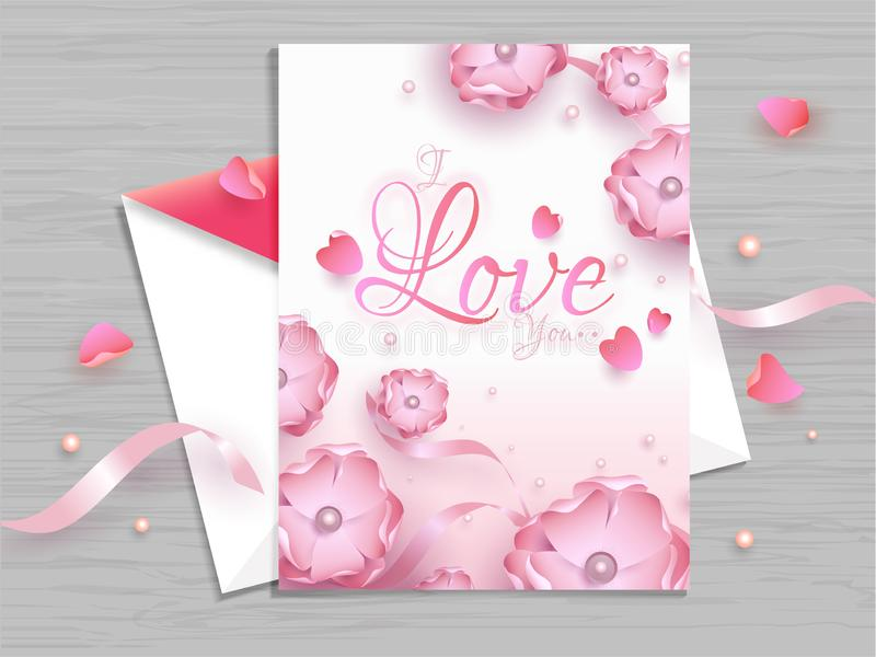 Härlig blom- dekorerad design för hälsa kort för valentin dag stock illustrationer