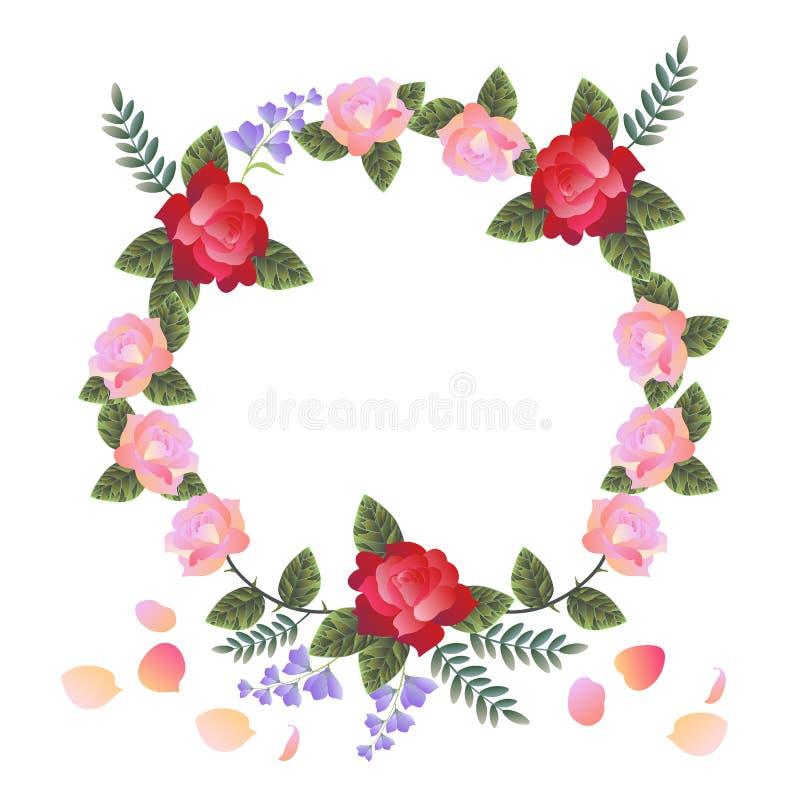 Härlig blom- krans med röda och rosa rosor och klockablommor som isoleras på vit bakgrund vektor illustrationer
