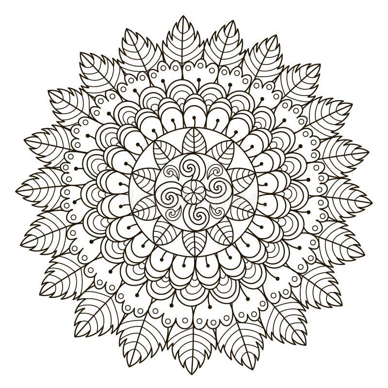 Härlig blom- mandala Modell för vektorrundaprydnad royaltyfri illustrationer