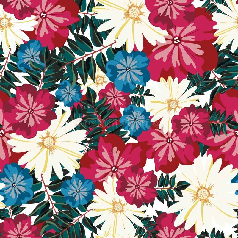 härlig blom- modell seamless modell Blommor Ljusa knoppar, sidor, blommor För blommamodell för sömlös tappning tropisk vektor vektor illustrationer
