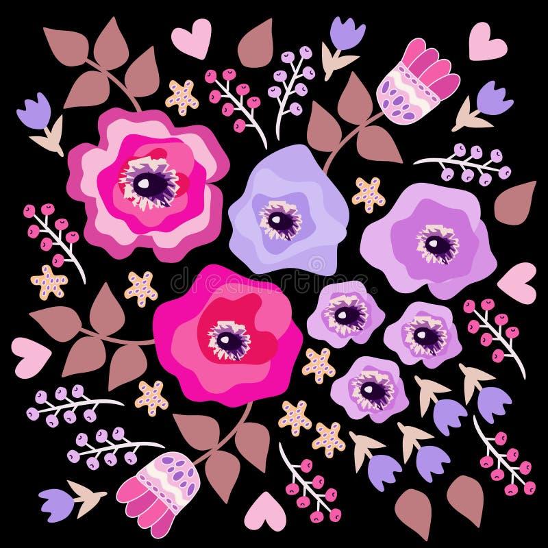 Härlig blom- prydnad i lättrogen stil Doily-, bandana-, örngott-, hälsning- eller inbjudankort royaltyfri illustrationer