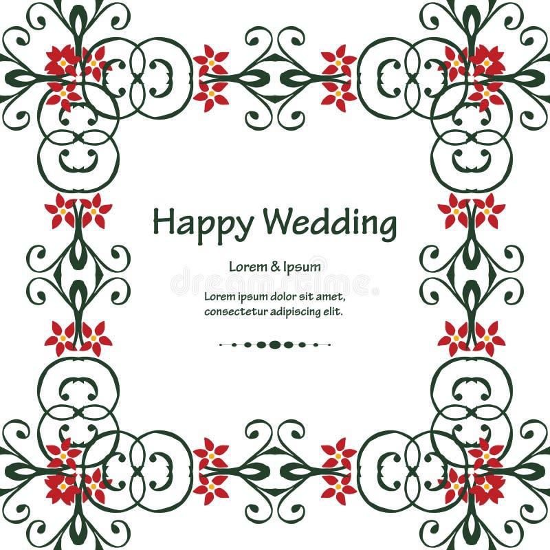 Härlig blom- ram för prydnad, inbjudanmall av lyckligt bröllop vektor stock illustrationer