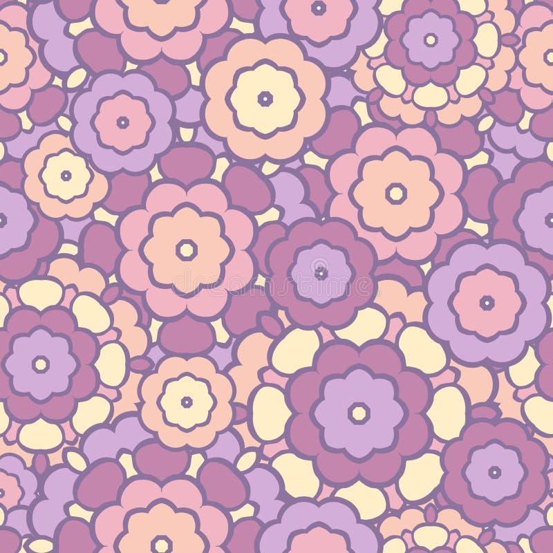 Härlig blom- sömlös vektormodell Skuggor av rosa färger och lavendel Knopp vektor illustrationer