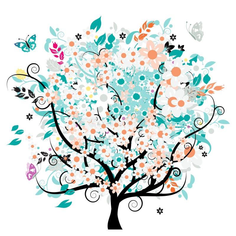 härlig blom- tree royaltyfri illustrationer