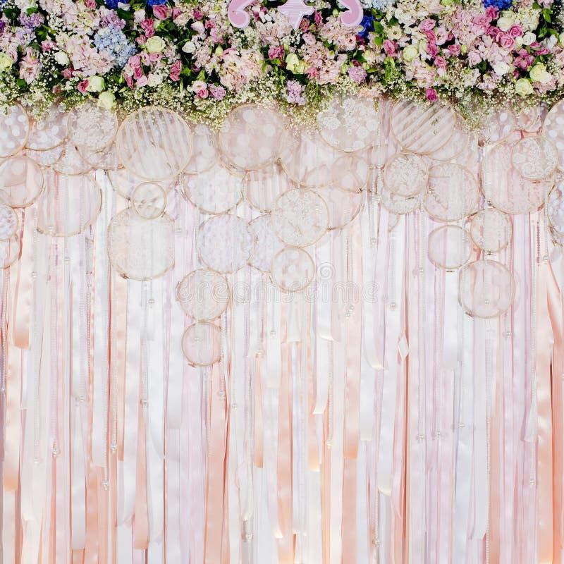 Härlig blommabakgrund för att gifta sig plats arkivfoton