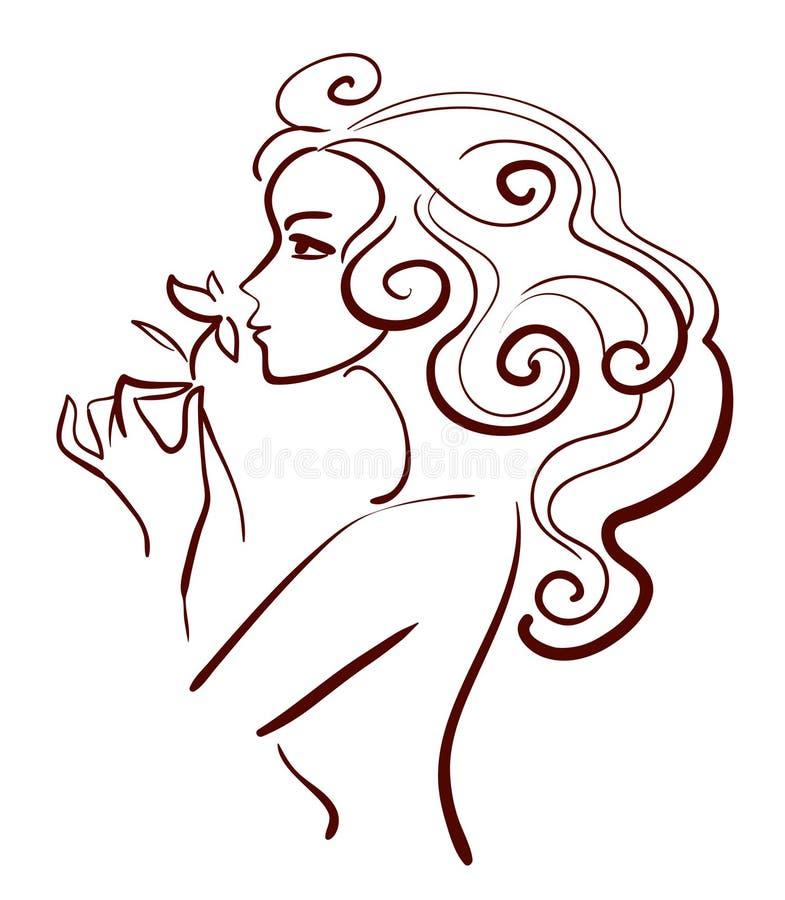 härlig blommakvinna vektor illustrationer