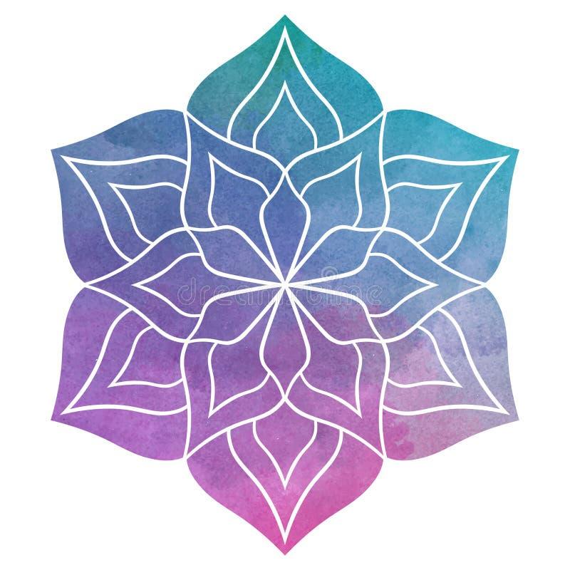 Härlig blommaMandala för vattenfärg vektor illustrationer