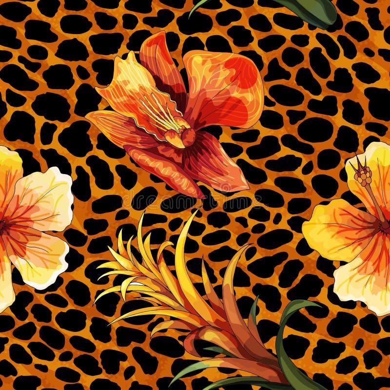 Härlig blommande blomma på djur hud För modellvektor för leopard sömlöst tryck royaltyfri illustrationer