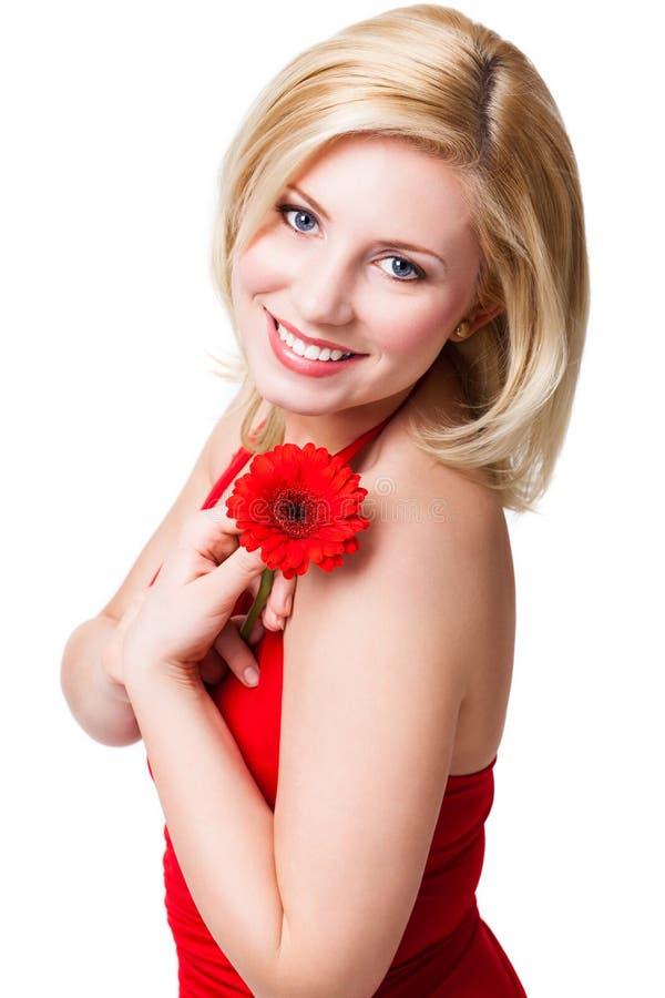 härlig blond blommakvinna royaltyfri fotografi
