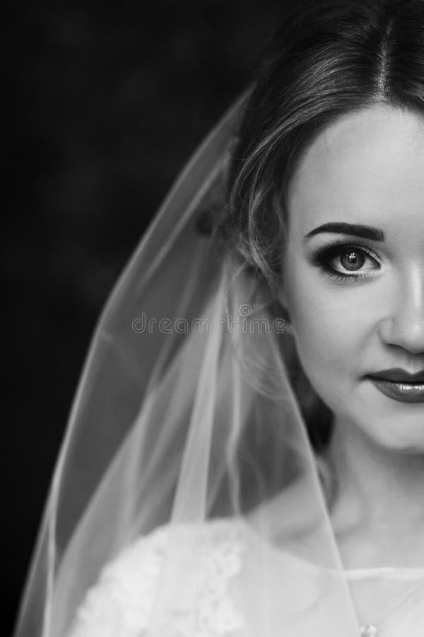 Härlig blond brudstående, closeup av den ursnygga nygifta personen wo arkivbilder