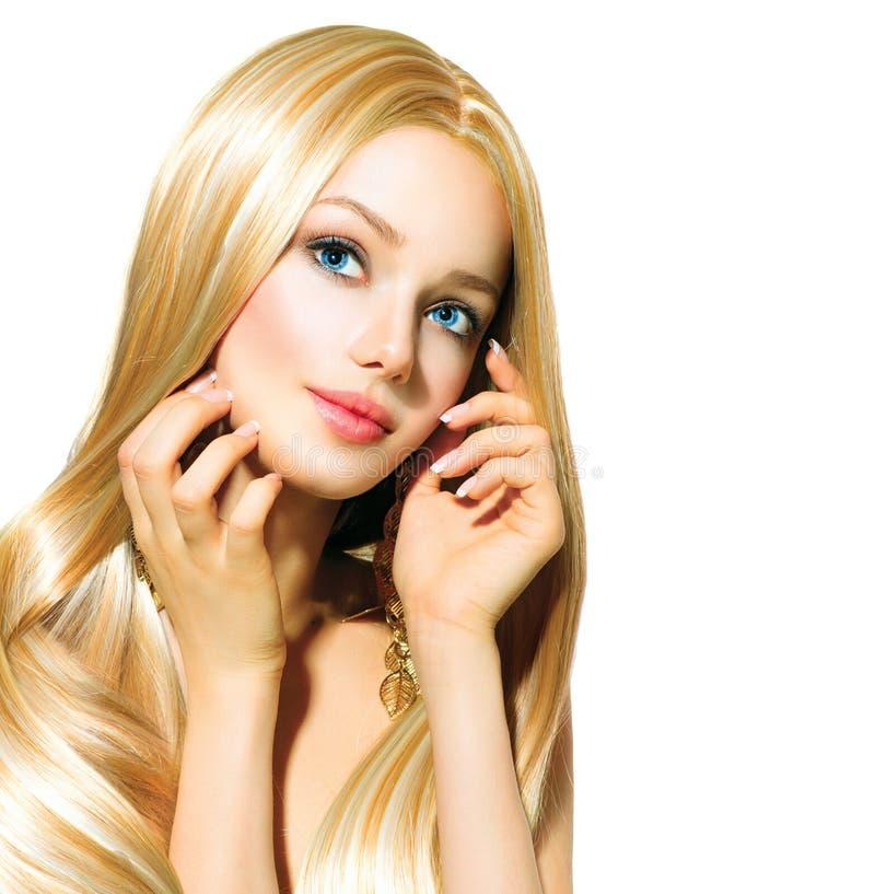 Härlig blond flicka över vit arkivfoton