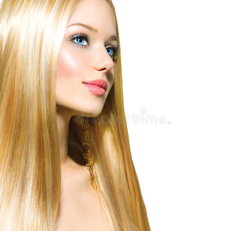 Härlig blond flicka över vit royaltyfria bilder