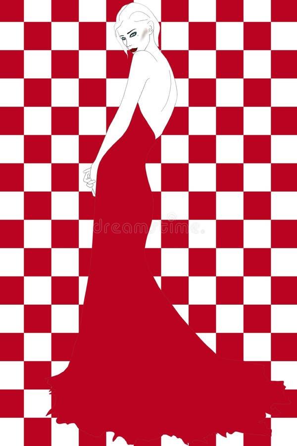 Härlig blond flicka i den röda långa klänningen - modeillustration vektor illustrationer
