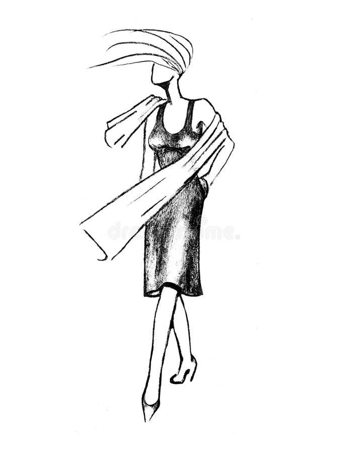 Härlig blond flicka på gatan Modeillustration av en flicka arkivbild