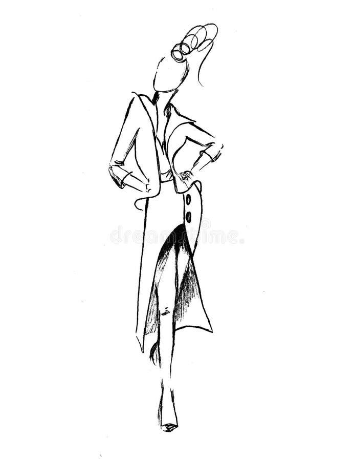 Härlig blond flicka på gatan modeillustration av gå för flicka royaltyfri fotografi