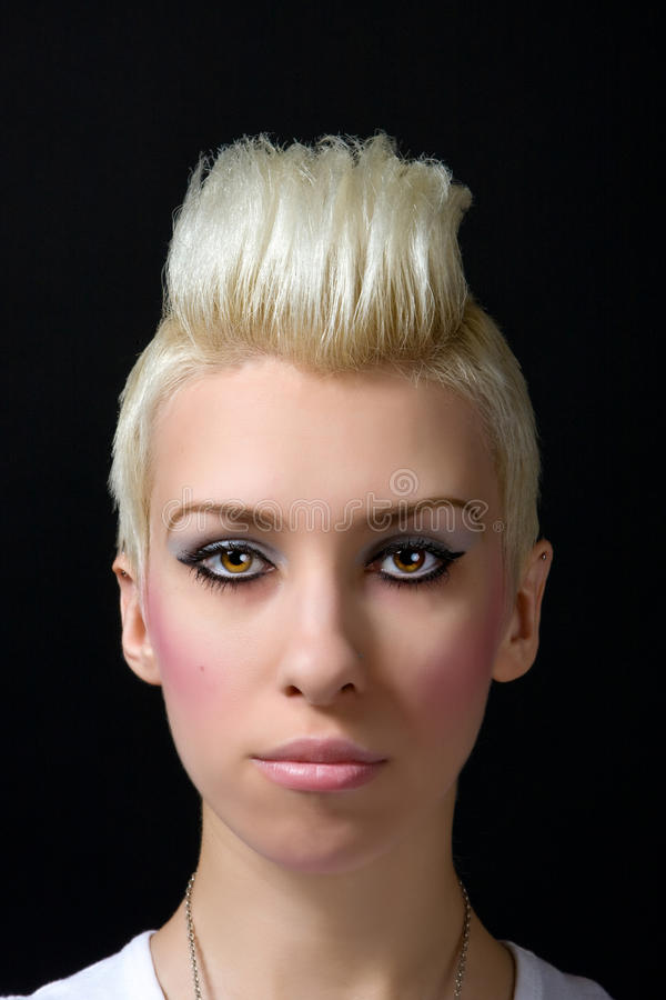 härlig blond flickastående royaltyfria foton