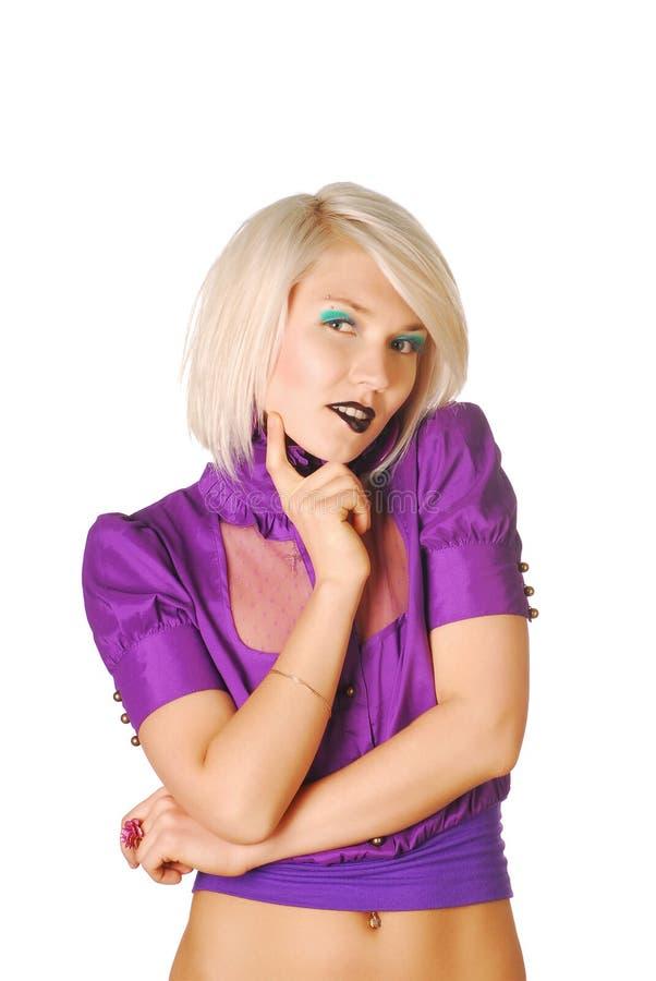 härlig blond modell fotografering för bildbyråer