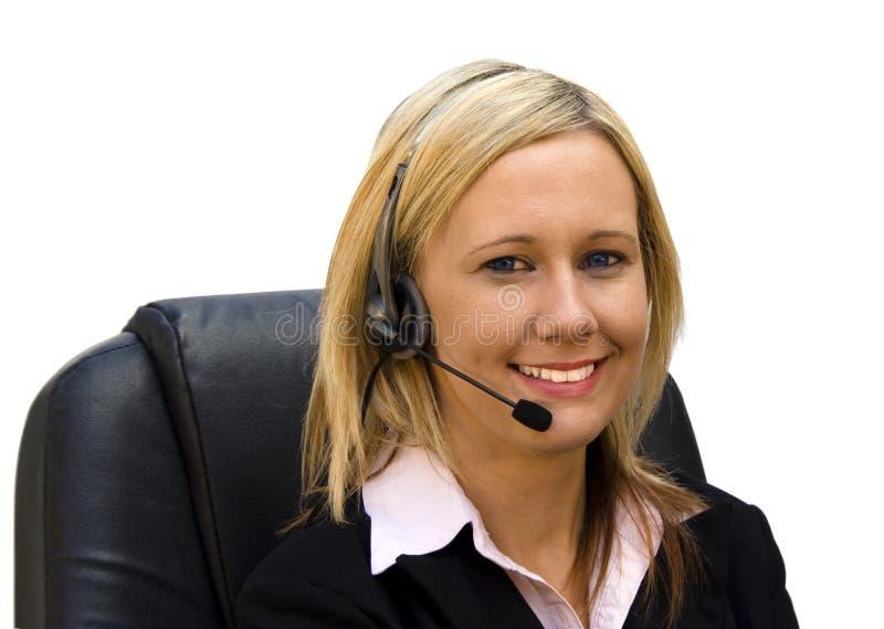 härlig blond receptionist arkivbild