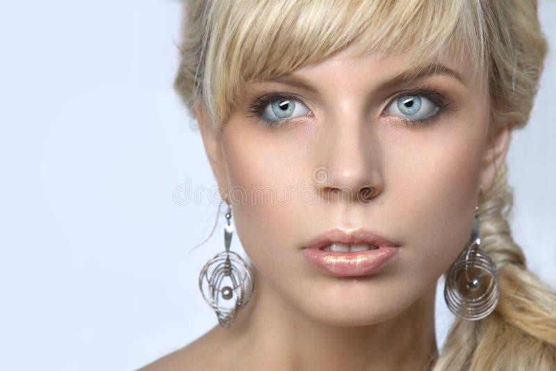 härlig blond stående royaltyfria bilder