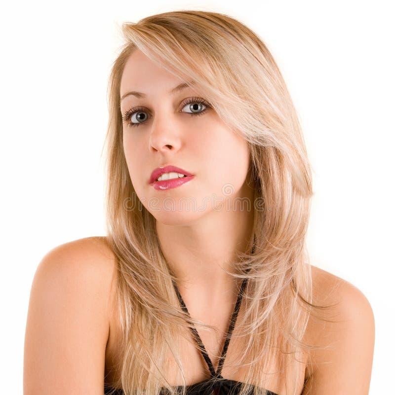 härlig blondin isolerad white royaltyfri foto