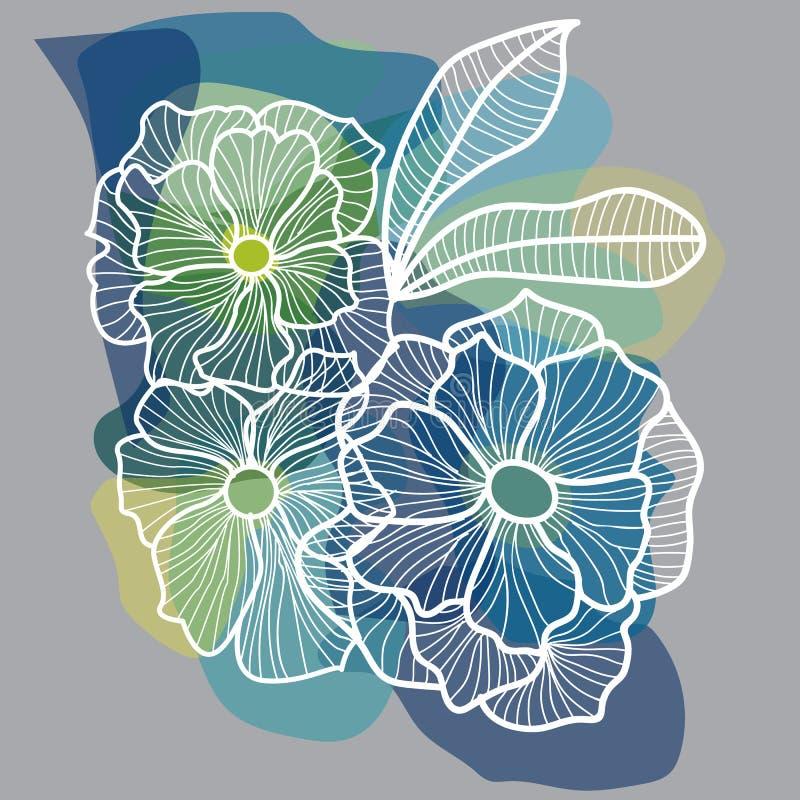 Härlig botanisk vektormodell med lösa blommor, fantasi fl vektor illustrationer
