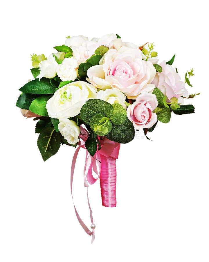Härlig bröllopbukett från vita och rosa rosor royaltyfri bild