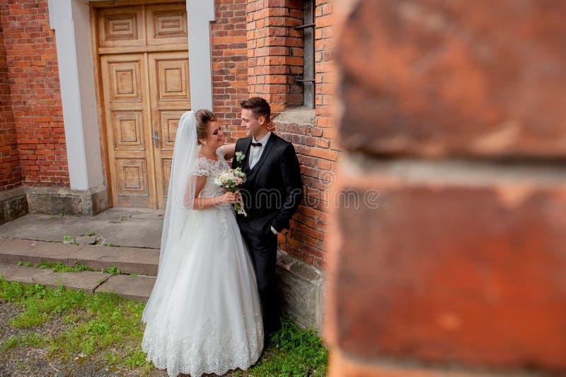 Härlig bröllopparmake i dräkt och fru i bröllopsklänningen som poserar nära väggen royaltyfri fotografi