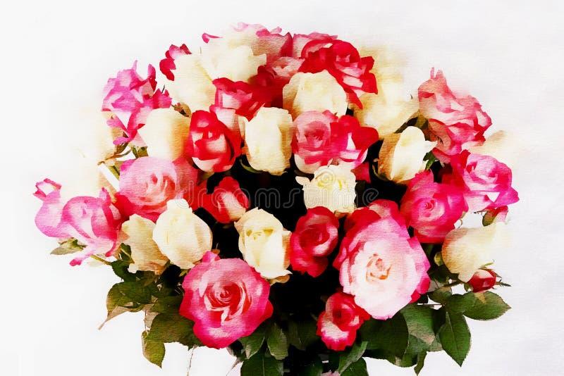 Härlig brud- bukett med rosor på en vit bakgrund, vattenfärgstil stock illustrationer
