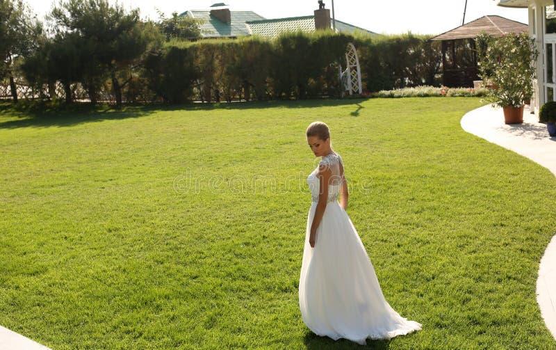 Härlig brud i den eleganta klänningen som poserar på gräsmatta royaltyfria bilder