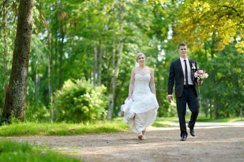 Härlig brud och brudgum royaltyfria bilder