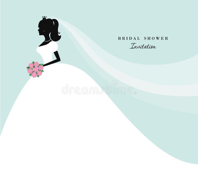 Härlig brudkontur på pastellblått Spara datumet, brud- duschinbjudan för att gifta sig stock illustrationer